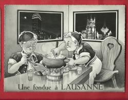 DVO1-32  Minouvis, Une Fondue à Lausanne, Caquelon Et Vin Blanc, Cachet 1960 - Otros Ilustradores