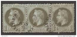 """TRES RARE OBLI  """"Ministère Des Finances"""" Sur Bande De 3 N°25 Valeur - 1863-1870 Napoléon III. Laure"""