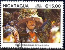 Dancer With Mask, International Music Year, Nicaragua Stamp SC#1475 Used - Nicaragua