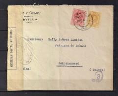 1918 SEVILLA, SOBRE CIRCULADO A SCHOENENWERD EN SUIZA, BANDA Y MARCAS DE CENSURA FRANCESAS - 1889-1931 Reino: Alfonso XIII