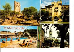 04 MANOSQUE N° Y 69792 / CPM  Multivues écrite Non Datée : Tour Mont-d'Or, Porte Saunerie, Piscine, Pte Soubeyran / TBE - Manosque