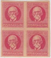 1917-130. CUBA. REPUBLICA. 1926. PATRIOTAS. Ed.215As. MAXIMO GOMEZ. BLOCK 4. IMPERFORADO. CON GOMA. - Kuba