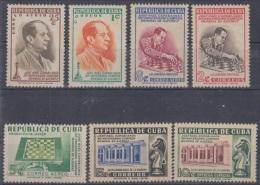 1951-121. CUBA. REPUBLICA. 1951. Ed.457-63. JOSE R. CAPABLANCA. AJEDREZ. CHESS. COMPLETE SET. GOMA ORIGINAL MANCHADA. - Kuba