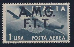 Italy,Trieste Zone A, Scott # C1 Mint Hinged Italy Airmail Stamp Overprinted, 1947 - 7. Trieste
