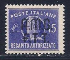 Italy,Trieste Zone A, Scott # EY3 Mint Hinged Italy Authorized Delivery Stamp Overprinted, 1949 - 7. Trieste