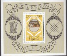 UGANDA, 1981 ROYAL WEDDING MINISHEET MNH - Uganda (1962-...)
