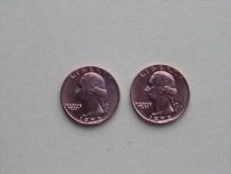 1972 & 1972 D - Quarter Dollar ($) Washington KM 164a ( Uncleaned / For Grade, Please See Photo ) !! - Émissions Fédérales