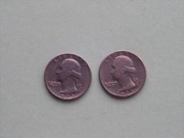 1973 & 1973 D - Quarter Dollar ($) Washington KM 164a ( Uncleaned / For Grade, Please See Photo ) !! - Émissions Fédérales