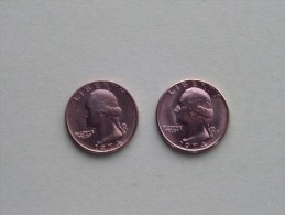 1974 & 1974 D - Quarter Dollar ($) Washington KM 164a ( Uncleaned / For Grade, Please See Photo ) !! - Federal Issues