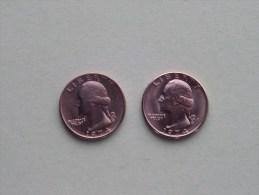 1974 & 1974 D - Quarter Dollar ($) Washington KM 164a ( Uncleaned / For Grade, Please See Photo ) !! - Émissions Fédérales