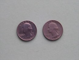 1977 & 1977 D - Quarter Dollar ($) Washington KM 164a ( Uncleaned / For Grade, Please See Photo ) !! - Federal Issues