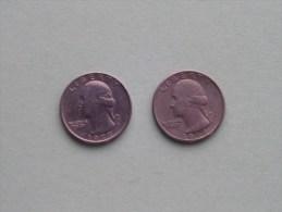 1977 & 1977 D - Quarter Dollar ($) Washington KM 164a ( Uncleaned / For Grade, Please See Photo ) !! - Émissions Fédérales