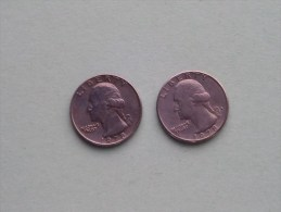 1978 & 1978 D - Quarter Dollar ($) Washington KM 164a ( Uncleaned / For Grade, Please See Photo ) !! - Émissions Fédérales