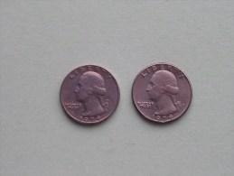 1979 & 1979 D - Quarter Dollar ($) Washington KM 164a ( Uncleaned / For Grade, Please See Photo ) !! - Émissions Fédérales