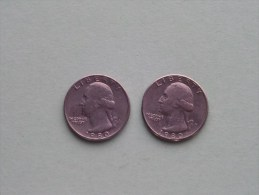 1980 P & 1980 D - Quarter Dollar ($) Washington KM 164a ( Uncleaned / For Grade, Please See Photo ) !! - Federal Issues