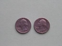 1980 P & 1980 D - Quarter Dollar ($) Washington KM 164a ( Uncleaned / For Grade, Please See Photo ) !! - Émissions Fédérales