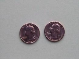 1981 P & 1981 D - Quarter Dollar ($) Washington KM 164a ( Uncleaned / For Grade, Please See Photo ) !! - Émissions Fédérales