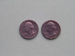1983 P & 1983 D - Quarter Dollar ($) Washington KM 164a ( Uncleaned / For Grade, Please See Photo ) !! - Émissions Fédérales