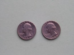 1984 P & 1984 D - Quarter Dollar ($) Washington KM 164a ( Uncleaned / For Grade, Please See Photo ) !! - 1932-1998: Washington