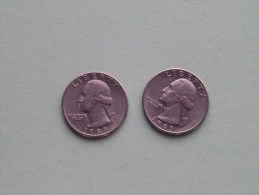 1985 P & 1985 D - Quarter Dollar ($) Washington KM 164a ( Uncleaned / For Grade, Please See Photo ) !! - 1932-1998: Washington