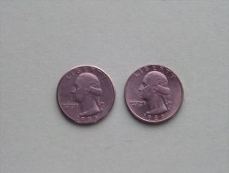 1986 P & 1986 D - Quarter Dollar ($) Washington KM 164a ( Uncleaned / For Grade, Please See Photo ) !! - Federal Issues