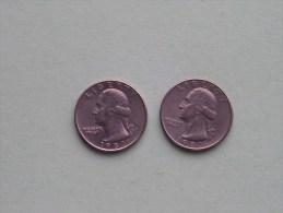 1987 P & 1987 D - Quarter Dollar ($) Washington KM 164a ( Uncleaned / For Grade, Please See Photo ) !! - Émissions Fédérales