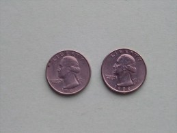 1988 P & 1988 D - Quarter Dollar ($) Washington KM 164a ( Uncleaned / For Grade, Please See Photo ) !! - Federal Issues