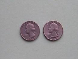 1989 P & 1989 D - Quarter Dollar ($) Washington KM 164a ( Uncleaned / For Grade, Please See Photo ) !! - 1932-1998: Washington