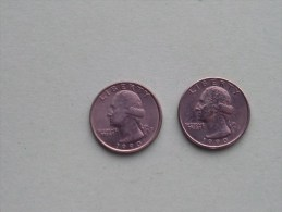 1990 P & 1990 D - Quarter Dollar ($) Washington KM 164a ( Uncleaned / For Grade, Please See Photo ) !! - Emissioni Federali
