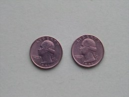 1991 P & 1991 D - Quarter Dollar ($) Washington KM 164a ( Uncleaned / For Grade, Please See Photo ) !! - Federal Issues