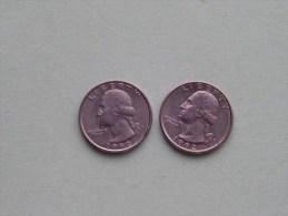 1992 P & 1992 D - Quarter Dollar ($) Washington KM 164a ( Uncleaned / For Grade, Please See Photo ) !! - 1932-1998: Washington