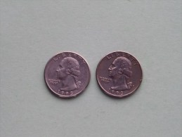 1993 P & 1993 D - Quarter Dollar ($) Washington KM 164a ( Uncleaned / For Grade, Please See Photo ) !! - 1932-1998: Washington