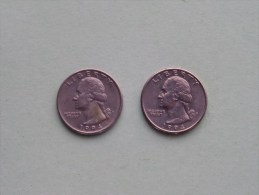 1994 P & 1994 D - Quarter Dollar ($) Washington KM 164a ( Uncleaned / For Grade, Please See Photo ) !! - 1932-1998: Washington