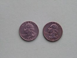 1995 P & 1995 D - Quarter Dollar ($) Washington KM 164a ( Uncleaned / For Grade, Please See Photo ) !! - 1932-1998: Washington
