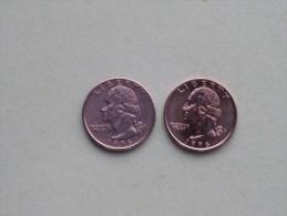 1996 P & 1996 D - Quarter Dollar ($) Washington KM 164a ( Uncleaned / For Grade, Please See Photo ) !! - Émissions Fédérales