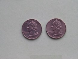 1997 P & 1997 D - Quarter Dollar ($) Washington KM 164a ( Uncleaned / For Grade, Please See Photo ) !! - Federal Issues