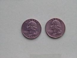 1997 P & 1997 D - Quarter Dollar ($) Washington KM 164a ( Uncleaned / For Grade, Please See Photo ) !! - 1932-1998: Washington