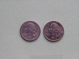 1998 P & 1998 D - Quarter Dollar ($) Washington KM 164a ( Uncleaned / For Grade, Please See Photo ) !! - Émissions Fédérales