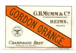 Etiquette Champagne  MUMM  Reims  Cordon  Orange  A  VOIR  !!!!!!! - Other
