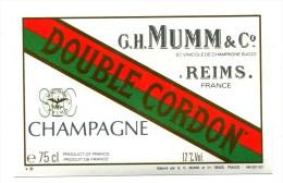 Etiquette Champagne  MUMM  Reims  Double Cordon  Sec  A  VOIR  !!!!!!! - Advertising