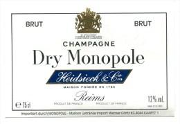 Etiquette Champagne    Reims  HEIDSIECK    Dry Monopole  Allemagne   A  VOIR  !!!!!!! - Advertising