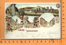HÖCHSTADT: Gruss, Litho Multi Vues, Panorama, Rathaus, Schule, Bembel Speierling - Allemagne