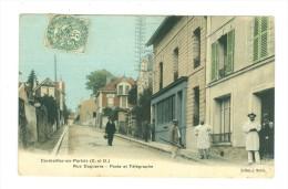 CORMEILLES EN PARISIS Rue Daguerre Poste Et Télégraphe Edit Merlin Colorisée 1907 - Non Classés