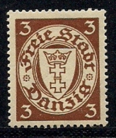 GERMANY, DANZIG,  1925, Hinged Stamp(s) ,Small  Coat Of Arms 3Pf,  MI 216,  #13338 - Ungebraucht