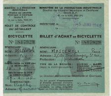 RATIONNEMENT- Billet D'achat De Bicyclette Pour Une Personne De St Dié (Vosges) -1948- - Verkehr & Transport