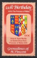 Grenadines St. Vincent 1982 - Stemma Di Anne Neville Principessa Del Galles, Arms Princess Of Wales MNH ** - St.Vincent E Grenadine