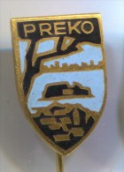 PREKO, Ugljan, Croatia, Blason, Coat Of Arms, Vintage Pin, Badge, Enamel - Villes