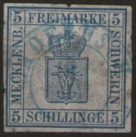 Gadebusch 5/11 auf 5 Shilling blau - Schwerin Nr. 3 - gepr�ft