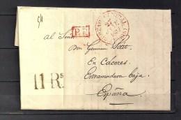 "1837 PARIS, CARTA COMPLETA CIRCULADA A CÁCERES , FECHADOR "" BUREAU CENTRAL - PARIS"", MARCA P.P. Y PORTEO - 1801-1848: Precursores XIX"