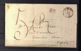 1845 CARTA COMPETA CIRCULADA ENTRE LOUVIERS Y CÁCERES, FECHADOR DE LOUVIERS, MARCA P.F., PORTEO MANUSCRITO, TRÁNSITOS - 1801-1848: Precursores XIX